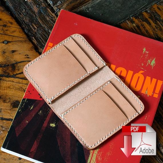 leather vertical 6 pocket wallet pdf digital template 8 5 x etsy