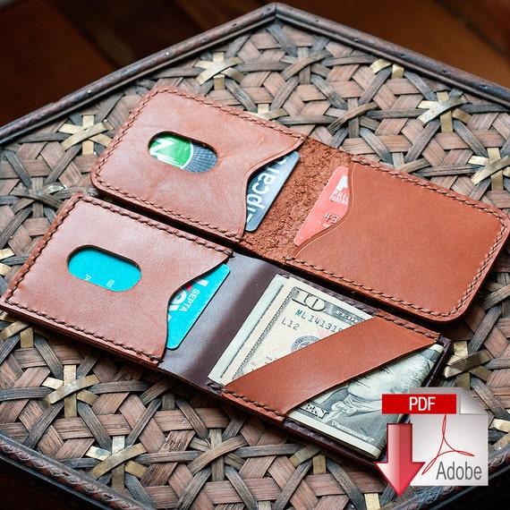 leather vertical card holder with cash strap digital pdf etsy