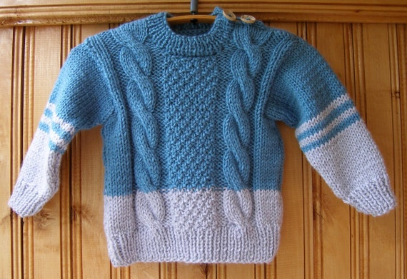 Blue Gray Boys Girls Kids Handmade Hand Knit Wool Warm Etsy