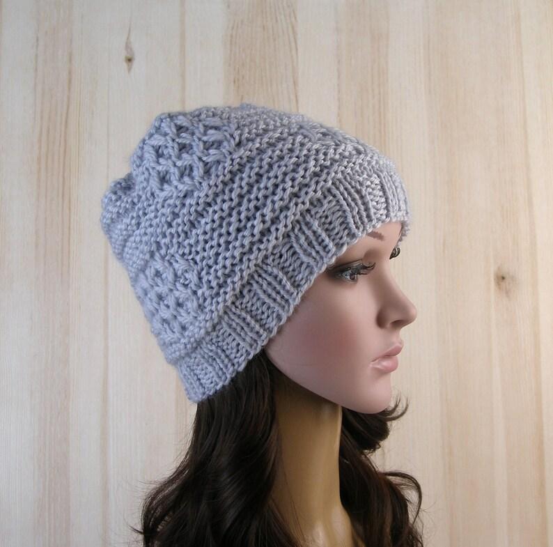 8ba56b625e0 Gray Womens Slouchy Beanie Hat Gray Beanie Chunky hat Women