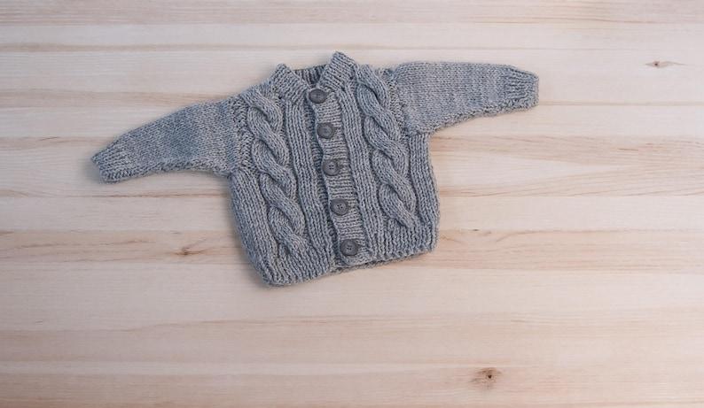 4c56e15554c3 Gray baby boy girl hand knitted kids newborn acrylic cardigan