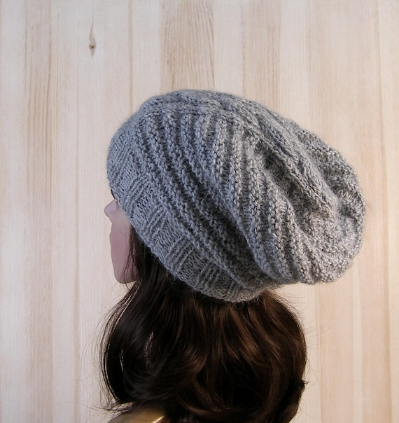 15cac5b3d88 Gray Slouchy Beanie knitted hat Womens wool hand Knit Hat Gray