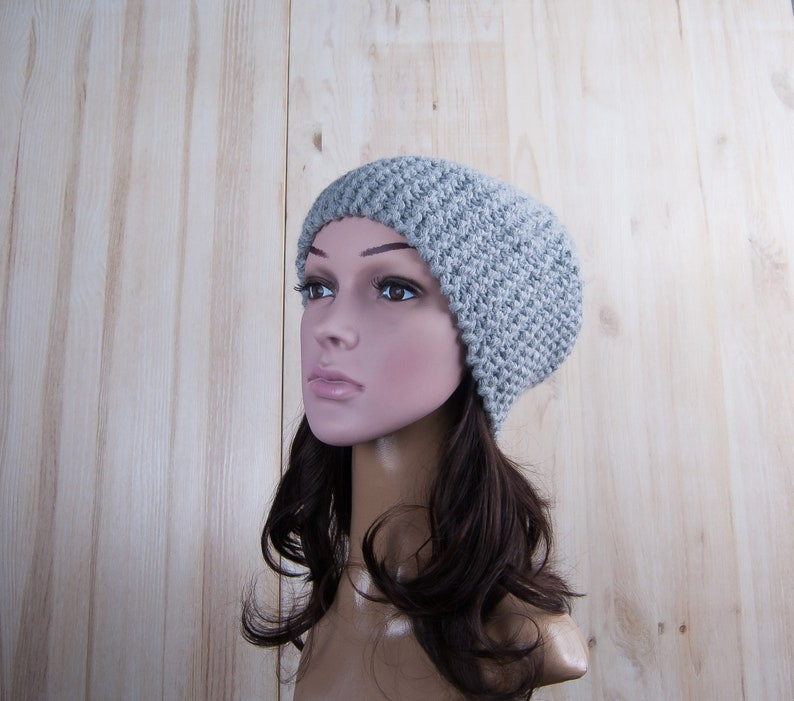 442ab8515 Gray winter women hand knit hat, knitted hats for women, slouchy beanies  for women