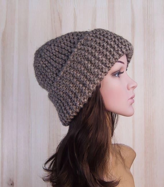 Brown Slouchy Beanie knitted Hat Slouch Hat Brown Beanie  e0810b4e81