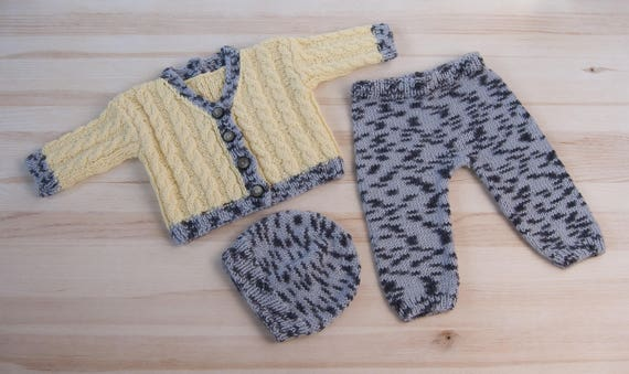 37690b969 Hand knitted baby girl boy set suit clothes 3 6 months Hat