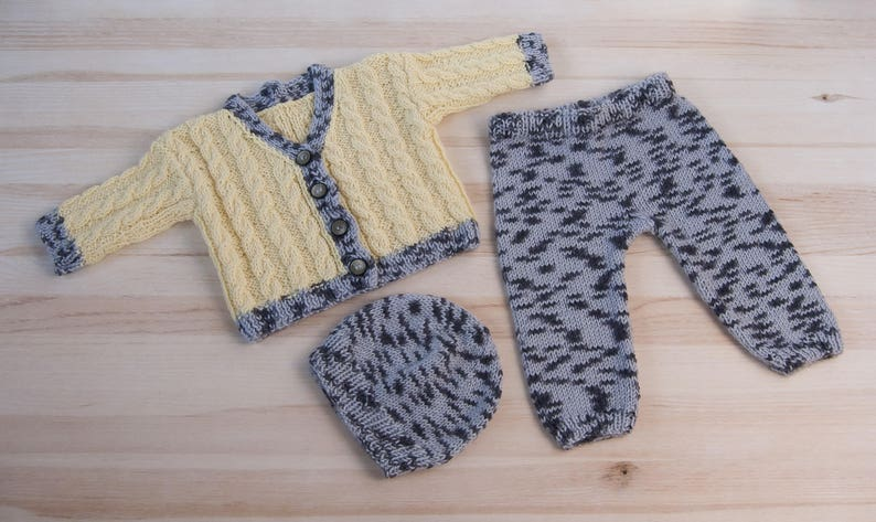 cb1da8ba02be Hand knitted baby girl boy set suit clothes 3 6 months Hat
