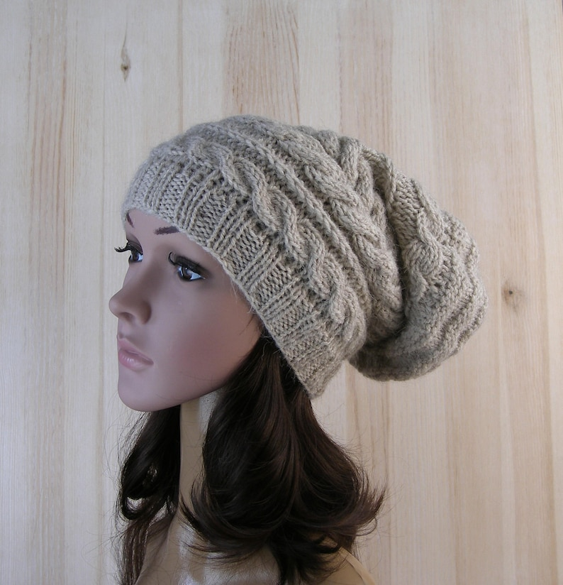 a63f78ec621 Slouchy hat winter hand knit hat womens Knitted Beanie Beige