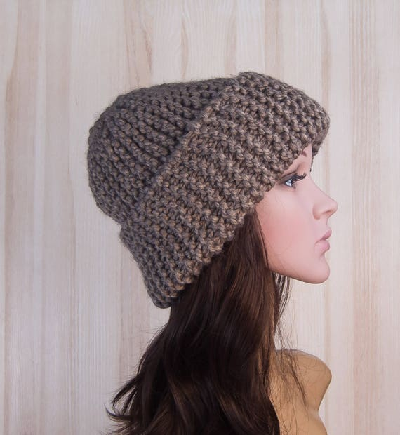 Brown Slouchy Beanie knitted Hat Slouch Hat Brown Beanie  e2f0cc43603