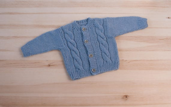 68bb2b031 Light blue baby hand knitted wool newborn cardigan clothes
