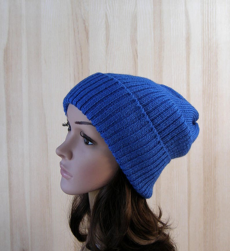 1b3226dc2d4ae Light blue dark blue white beanie knit wool winter hat for men woman girl  boy unisex merino wool hat