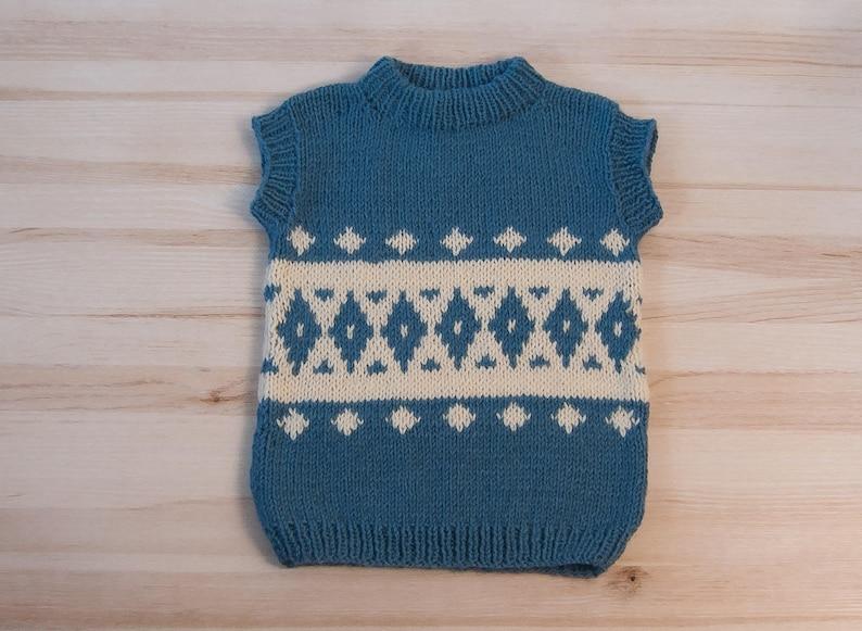 c079fef0f Hand knit blue denim wool kids children boys girls vest