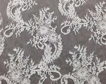 Corded Eyelash Lace, Chantilly Lace Fabric, Bilateral Lace Fabric, NEW Good Quality Off White Lace 3 Meters per Pc