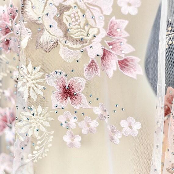 Tissu dentelle dentelle Polyester rose, Tulle dentelle Tissu avec des perles, bricolage dentelle de mariée en tissu résille 80c6d1