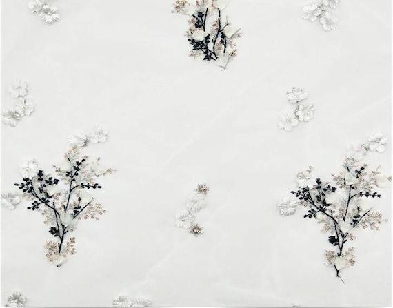 Perles 3D broderie paillettes dentelle, tissu dentelle de paillettes broderie arbre 409164
