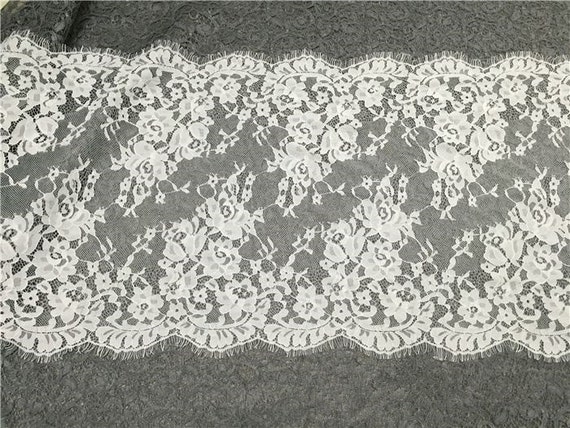 3Meters* 40CM French Style Chantilly Eyelash Double Edge Lace Trim Bright White