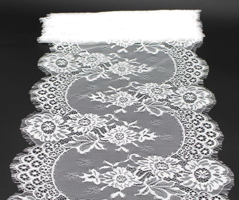 Soft Eyelash French Lace Trim 33 cm Wide for Bridal Veil Skirt Dress Lace Trim 3 Meters
