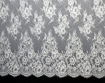 Eyelash Chantilly Lace ,Bridal Floral Pattern Lace Fabric,Soft French Lace ,3 meters per pc