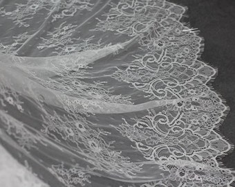 Eyelash Chantilly Lace Fabric,Bridal Floral Pattern Lace Fabric,Soft French Lace ,3 meters per pc