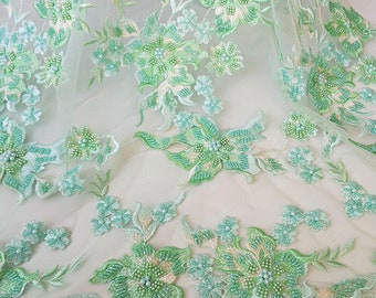 2018 Green Beading Lace Fabric Evening Dress Beading Lace Fabric