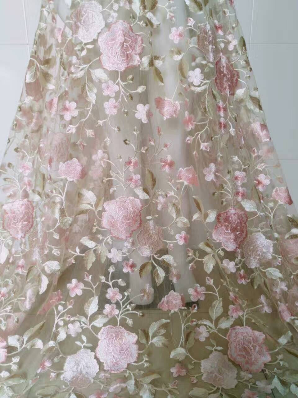 Tissu dentelle broderie rose avec Tulle souple en maille, maille, en dentelle pour la robe, décoration Rideau robe de poupée tissu bricolage 150445
