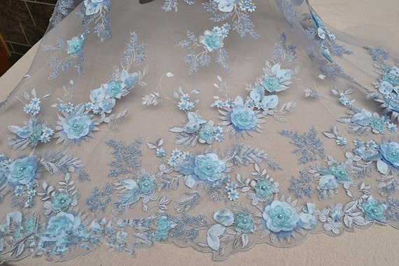 Blue Embroidery Lace Fabric With 3d Floral Europe Light Blue Etsy