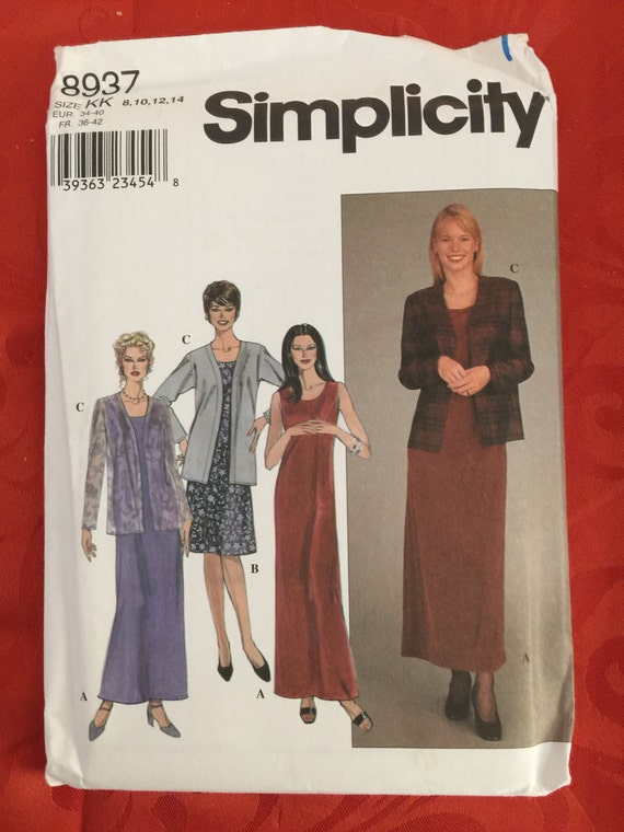 8937 Simplicity Misses Dress And Jacket Sewing Pattern Etsy