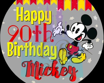 3 Happy 90th Birthday Mickey Button