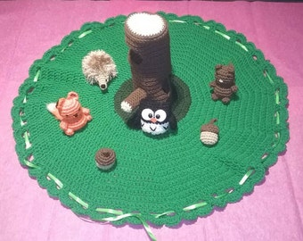 """Crocheted Forest Playset with Optional """"Peek-Through Forest"""" Board Book"""