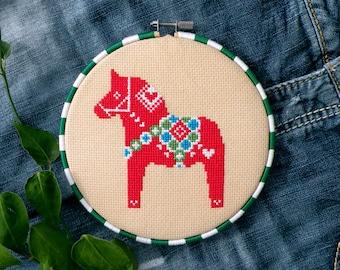 Christmas Cross Stitch Patterns, Swedish Dala Horse Cross Stitch Pattern, Dala Horse Gift, Darlecarlian, Dalahast, Red, Christmas Craft Gift