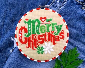 Christmas Cross Stitch Pattern, Merry Christmas Cross Stitch Pattern, Modern Cross Stitch Chart, Vintage Cross Stitch, Counted Cross Stitch