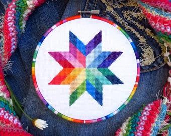 Rainbow Cross Stitch Pattern Star, Modern Needlepoint Pattern Counted Cross Stitch PDF Modern Embroidery Modern Cross Stitch Rainbow Pattern