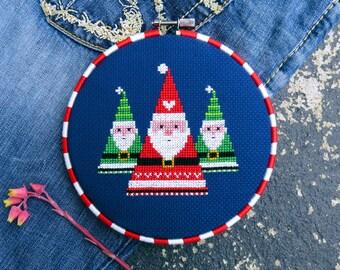 Christmas Cross Stitch Pattern PDF, Santa Cross Stitch, Christmas Patterns, Modern Cross Stitch, Xmas Decorations, DIY Gift, German Folk Art