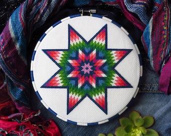Mandala Cross Stitch Pattern, Star Of Bethlehem, Rainbow Cross Stitch Pattern, Star Cross Stitch, Needlepoint PDF Pattern, Modern Tapestry
