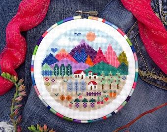 Landscape Cross Stitch Pattern, Mountain Cross Stitch Cross Stitch Scenery Landscapes Etsy Modern Cross Stitch Patterns Country Cross Stitch