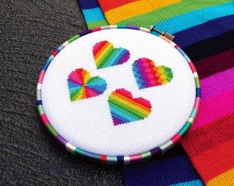 Rainbow Cross Stitch Pattern PDF, Heart Cross Stitch, Love Cross Stitch, Valentine Pattern, Modern Cross Stitch Valentines Cross Stitch LGBT