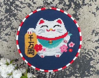 Chinese Lucky Cat Cross Stitch Pattern PDF, Maneki Neko Chart, Chinese Fortune Cat Cross Stitch, Counted Cross Stitch, Cute Cross Stitch