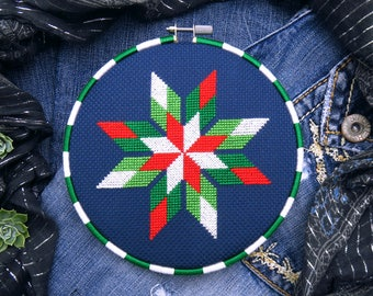 Christmas Cross Stitch Patterns, Geometric Cross Stitch, Modern Christmas, Xmas Cross Stitch, Snowflake, Star, Christmas Stitch, Poinsettia