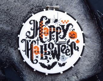 Happy Halloween Cross Stitch Pattern, Cool Cross Stitch Sampler, Halloween Patterns, Halloween Quotes, Halloween Gift, Halloween Home Décor