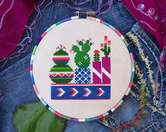 Cactus Cross Stitch Pattern, Succulent Cross Stitch Pattern PDF, Mexican Cross Stitch, Botany, Plant Cross Stitch, Modern Cross Stitch
