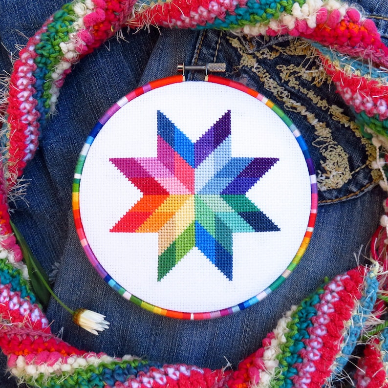 Rainbow Cross Stitch Pattern Star Modern Needlepoint Pattern image 0