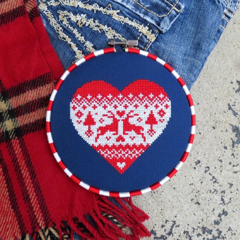 86ed6dbbe57327 Holiday Cross Stitch Christmas Sweater Pattern Heart Cross
