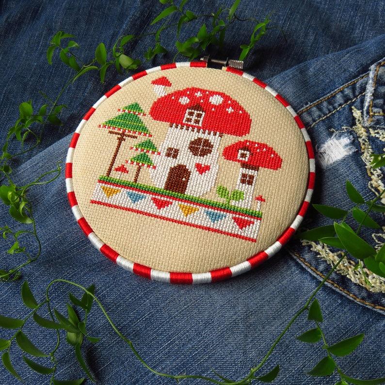 Mushroom House Cross Stitch Pattern PDF Fairy Garden image 0