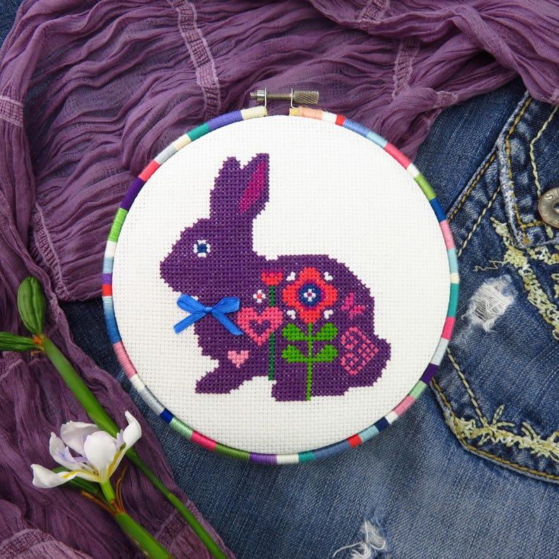 Easter Cross Stitch Pattern PDF Cross Stitch Animals Bunny image 0