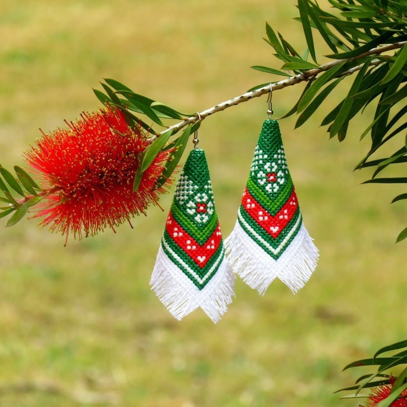 Cross Stitch Earrings Christmas Cross Stitch Patterns Xmas image 0