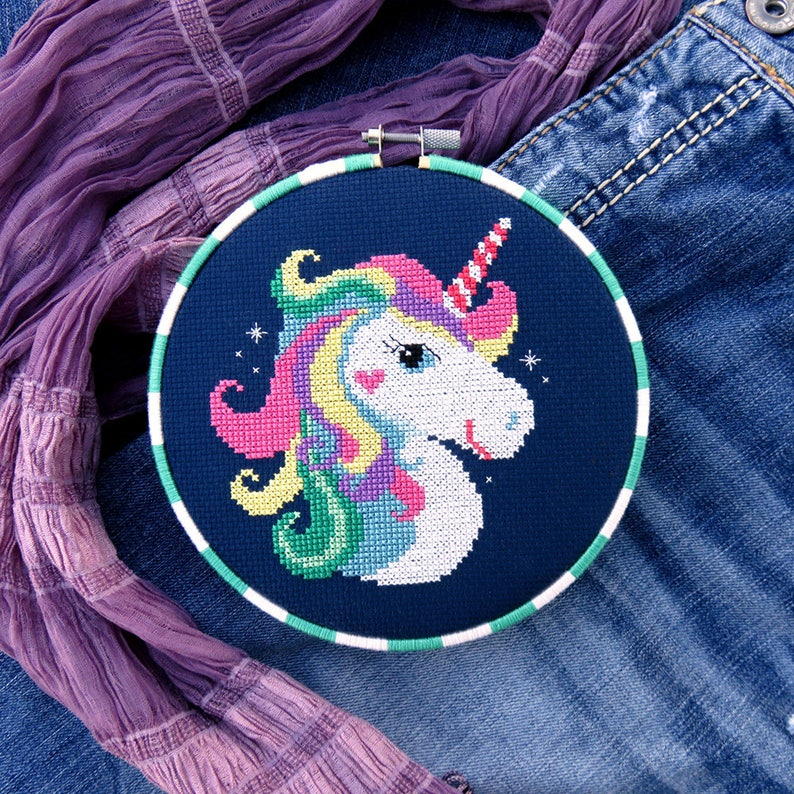 Rainbow Unicorn Cross Stitch Pattern Horse Cross Stitch image 0