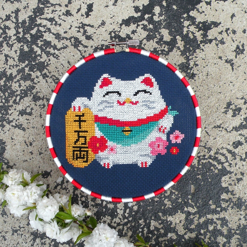 Chinese Lucky Cat Cross Stitch Pattern PDF Maneki Neko Chart image 0