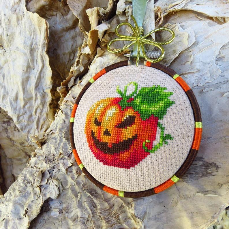 Halloween Pumpkin Cross Stitch Pattern PDF Halloween xstitch image 0