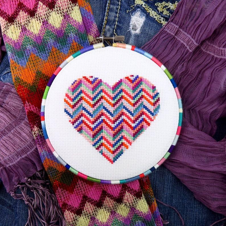 Love Cross Stitch Heart Valentine Cross Stitch Pattern image 0