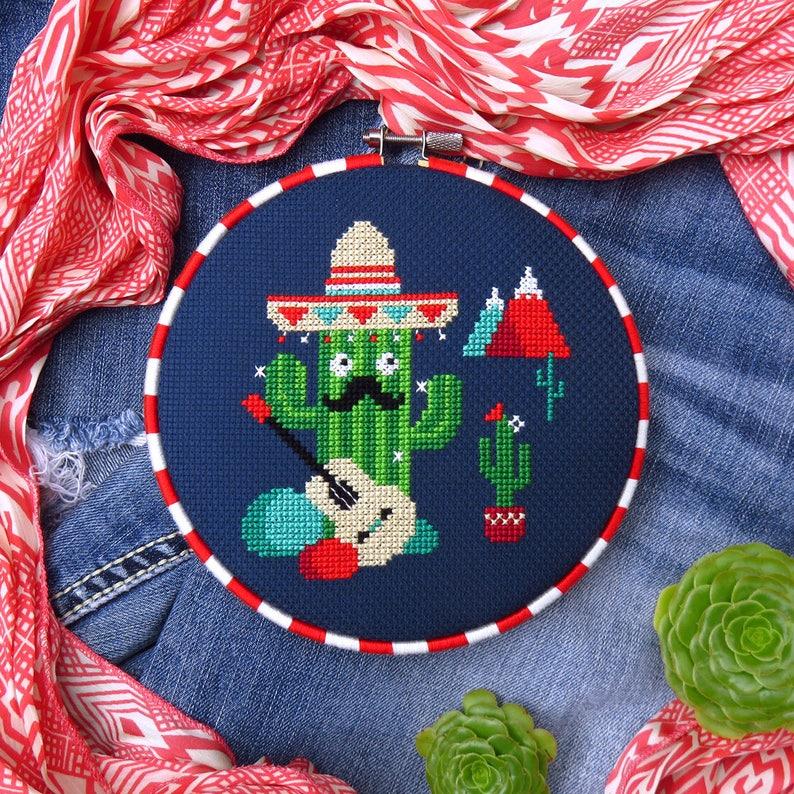 Cactus Cross Stitch PDF Cinco De Mayo Cross Stitch Home image 0