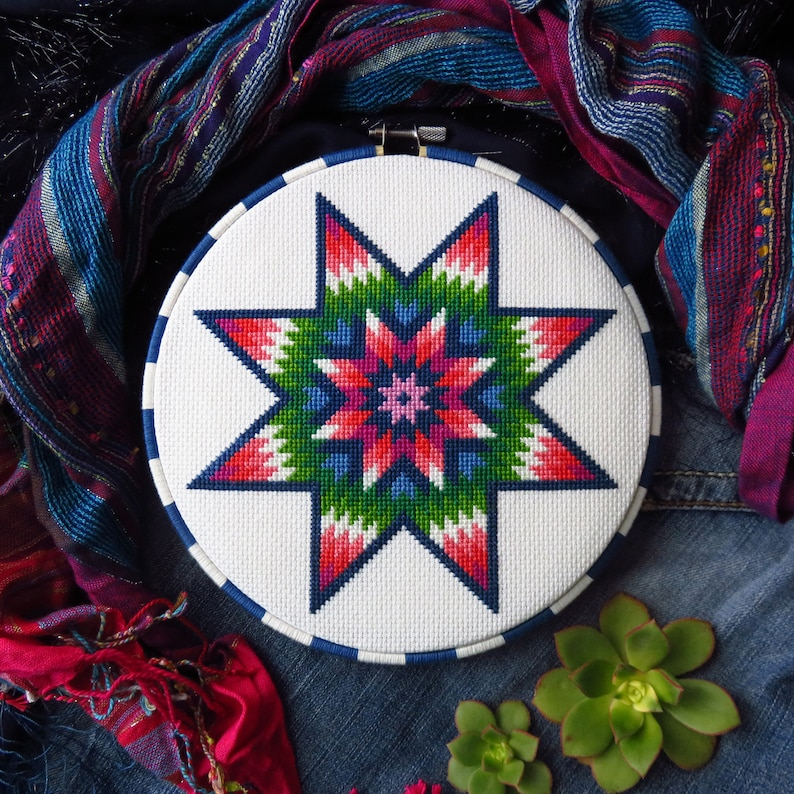 Mandala Cross Stitch Pattern Star Of Bethlehem Rainbow Cross image 0